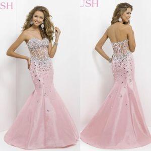 Blush Sheer corset mermaid gown